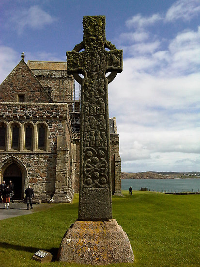The ornate cross of St Martin beside the abbey on the Isle of Iona
