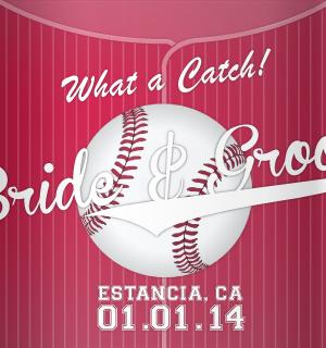 Red baseball film wedding koozies.