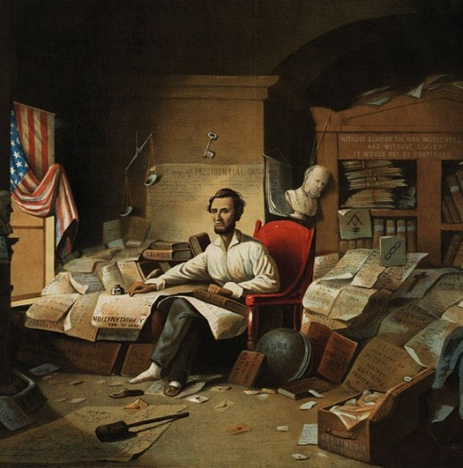 An artist's representation of Lincoln sitting in a cluttered study in shirtsleeves and slippers, at work on the Constitution. Creative?