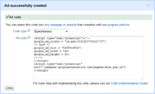 Copy the code in this screen to add to the code of your website.