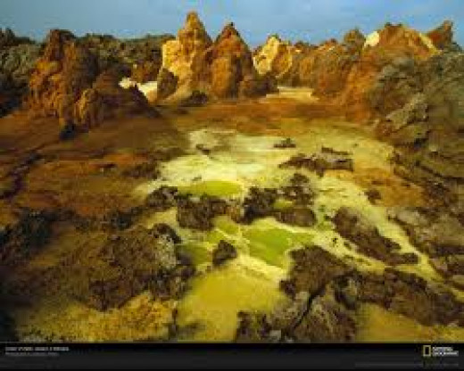 Hydrothermal deposits in the crators of Dallol