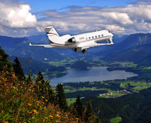 A flight in a private plane to the Austrian Alps.