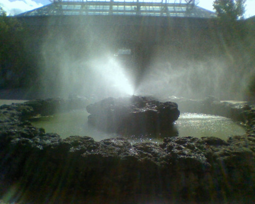 The primordial fountain at Tower Hill Botanical Garden