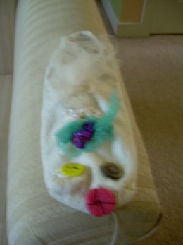 """Betty Lou"" the sock puppet, made at an Annual Day of Pupptry"