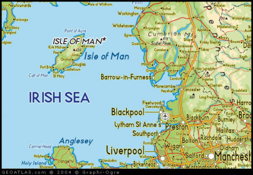 Location of the Isle of Man in the Irish Sea between the four countries of the UK and Ireland