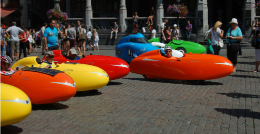 A gathering of velomobiles in Brussels (Belgium)