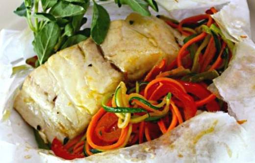 Baked fish in parchment paper recipes and seafood parcels for Fish in parchment recipes
