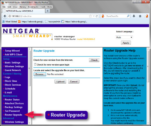 "This is the default control panel for the Netgear WNR2000 v3 with it's earliest firmware. Click on ""Router Upgrade"" to begin the first firmware flash as described above in Step 2."