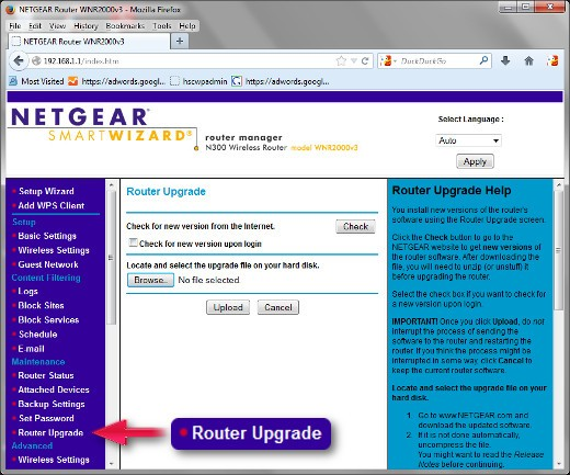 """This is the default control panel for the Netgear WNR2000 v3 with it's earliest firmware. Click on """"Router Upgrade"""" to begin the first firmware flash as described above in Step 2."""