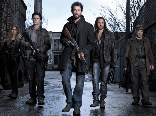 "Survivors battle alien invaders in the TV series ""Falling Skies"""