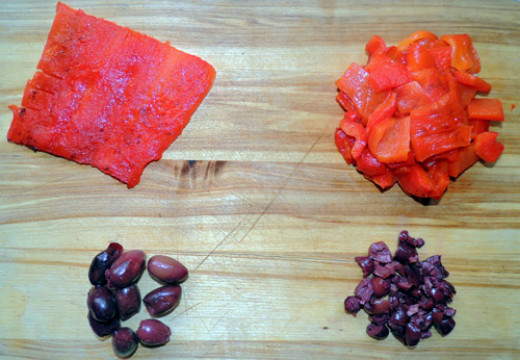left to right, top to bottom: broiled peppers diced & ready to go; kalamata olives sliced & ready to go