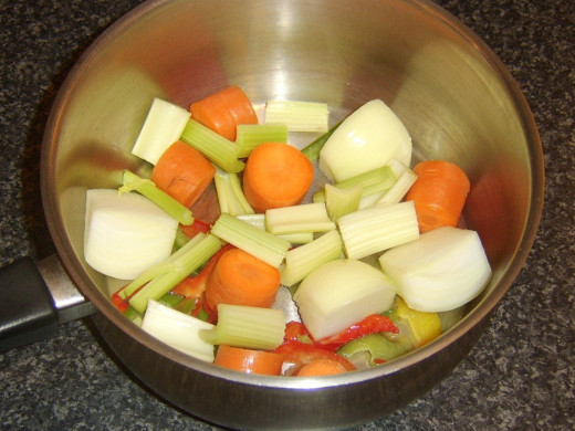 Chopped vegetables for making stock