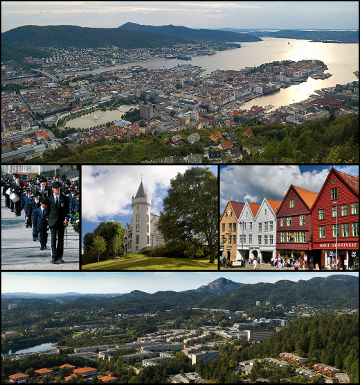 From top to bottom: city centre, buekorps, Gamlehaugen, Bryggen and Fyllingsdalen