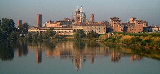 Mantua mirroring itself on the waters of the lake. The city it sorrounded by three lakes, obtained from the River Mincio in XII century. Originally they were four (one for each side of the city) but one was dried up.