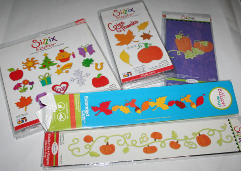 A sampling of Sizzix die cuts for leaves and vines.