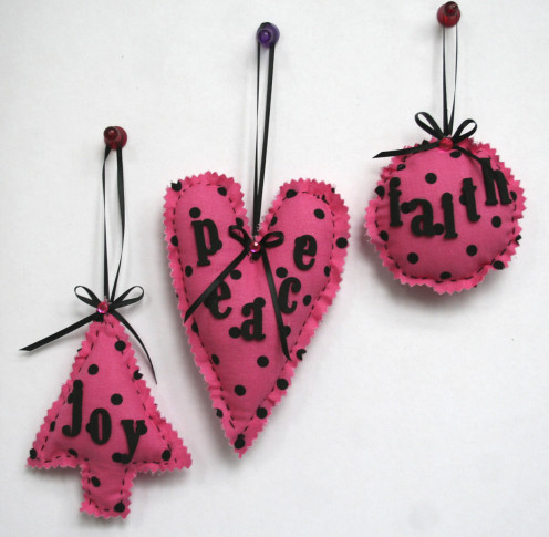 Easy left over scrap fabric inspirational ornaments