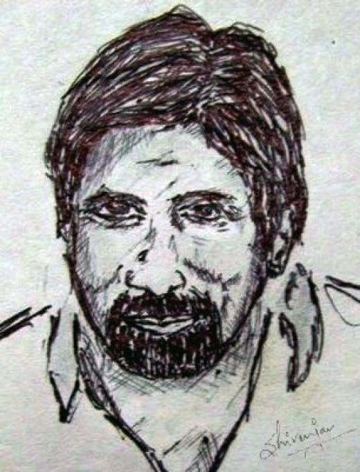 A sketch of Amitabh Bachchan
