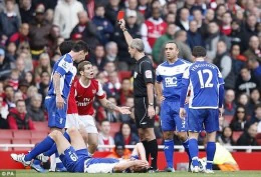 Wilshere sees red against Birmingham.