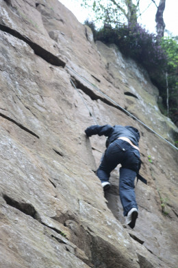 Rock climbing is a great way to improve core muscle strength for events like Spartan Race and Tough Mudder. Photo is from the Longshaw Estate, Derbyshire