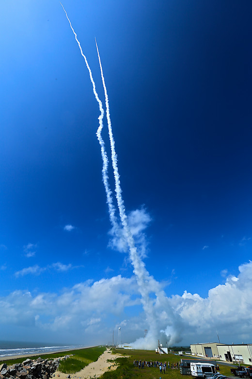 Exhaust trails from two NASA sounding rockets, launched on July 4, 2013 from Wallops Island, VA.