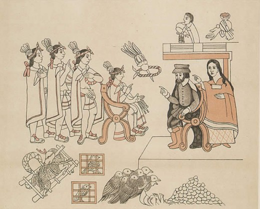Aztec artwork depicting Cortés' meeting with King Monteczuma, with La Malinche acting as the conquistador's translator