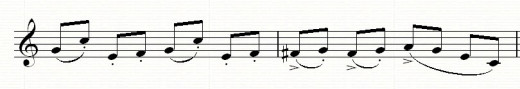 Accidentals (F sharps) need to be written in separately from the key signature
