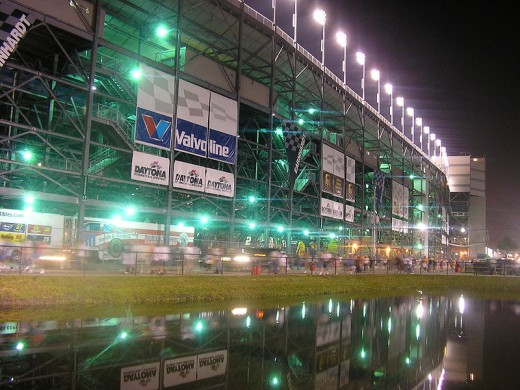 A look outside the Daytona grandstands at night