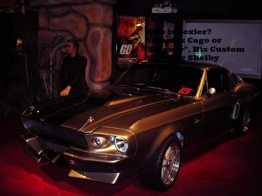 Nicholas Cage with Eleanor the custom Mustang Shelby GT 500 from Gone in 60 seconds