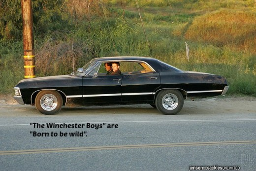 Jared Padalecki and Jensen Ackles from Supernatural with their 1967 Impala