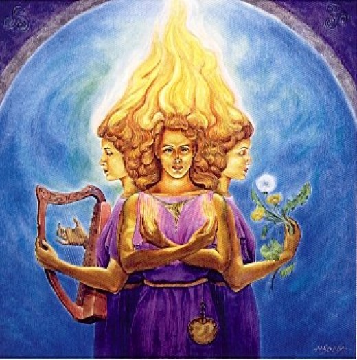 Brigid or Brighid, goddess of many parts, music, knowledge and healing (see above) being but a few