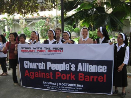Nuns participating in a Million Walk against Pork Barrel