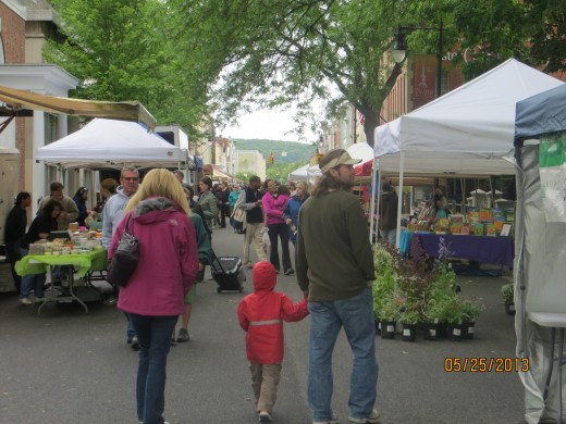 My daughter and her family at the Uptown Kingston Farmers Market (that would be the Stockade District)