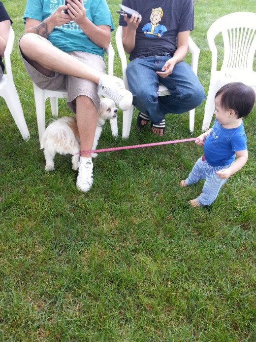 He thinks he's taking the dog for a walk.