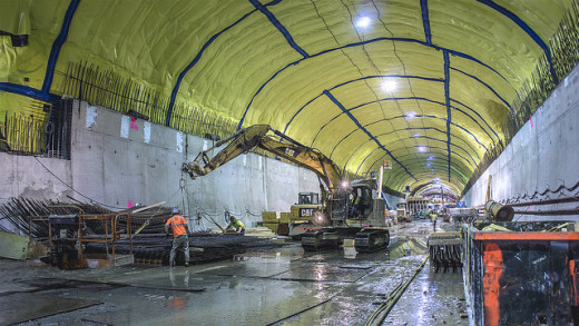 The Second Avenue Subway's cavernous 72nd Street station takes shape.