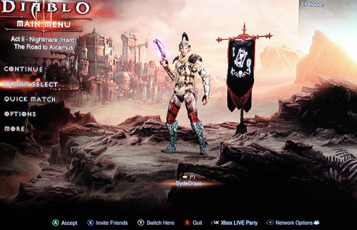 The Diablo 3 Console character screen