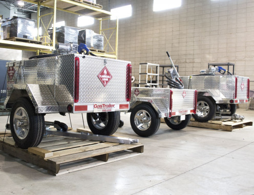 Some of the gas tank trailers available from Gas Trailer. Built in the USA, they are constructed with safety in mind with top quality aluminum and other sturdy, durable components.