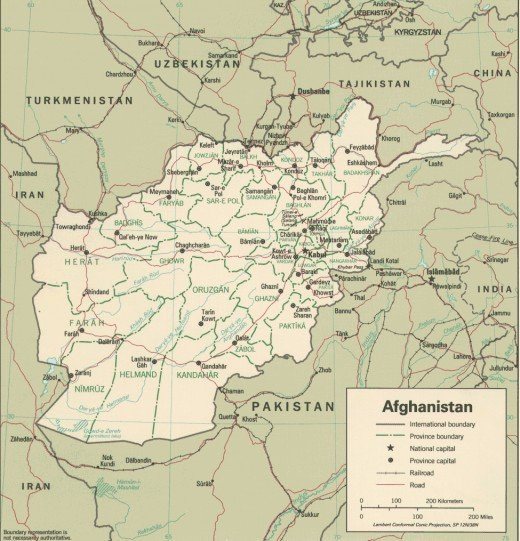 A map of Afghanistan showing the political boundaries and major settlements.