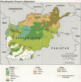 Map showing distribution of ethnic and linguistic groups in Afghanistan.