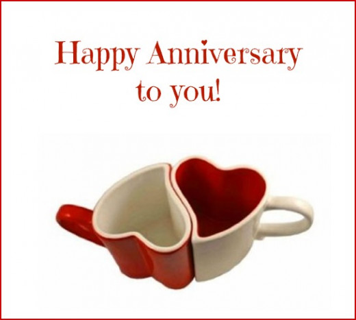 Anniversary Love Heart Mugs