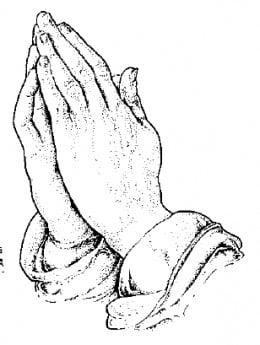 hand in a praying position