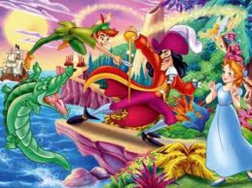 Peter Pan battles Hook, the pirate