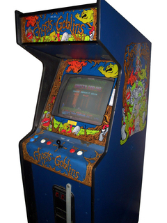 An original cabinet for the arcade version of Ghosts n Goblins by CapCom