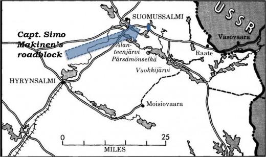 The position of Capt. Makinen's roadblock along the Suomussalmi – Raata road.