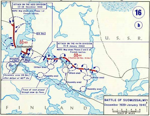 Map of the Battle of Suomussalmi - Raate Road 1939/40.