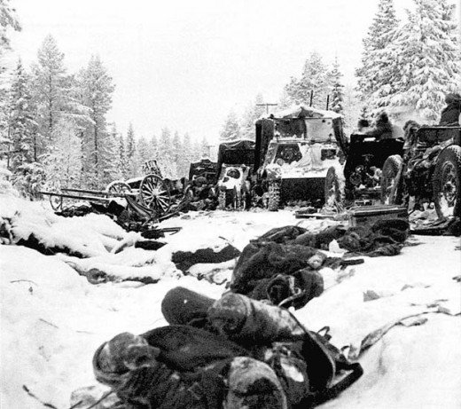 Soviet equipment and bodies of Red Army soldiers after the Battle of Raate road.