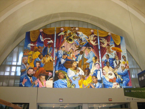 Moisant Field is the airport where we arrived back in New Orleans. In 2001, it was renamed  Louis Armstrong International Airport. This airport mural honors jazz and Louis Armstrong.