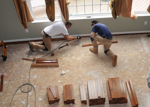Laying out a new wooden floor