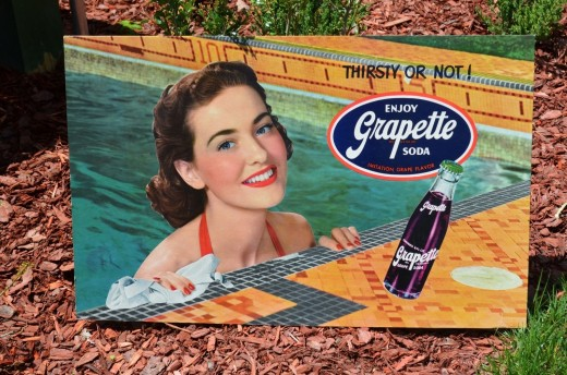 "19 40's GRAPETTE DRINK SODA ""SWIMMING"" POSTER SIGN with Pretty Smiling Brunette Girl"