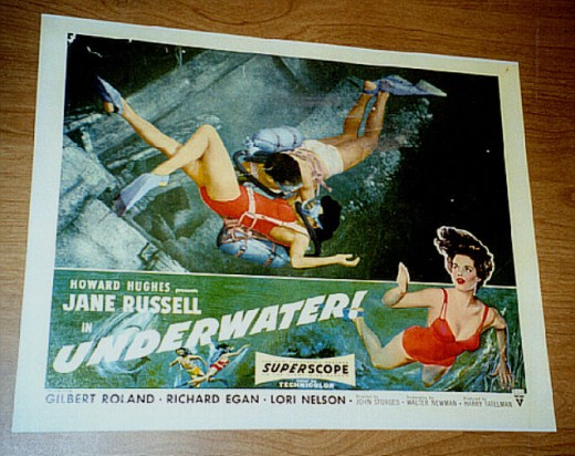 JANE RUSSELL UNDERWATER SWIMMING MOVIE ART LOBBY POSTER CHEESECAKE PINUP