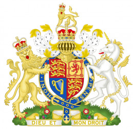 Elizabeth II's Royal Coat of Arms for England, Wales and Northern Ireland from 1952 to the present day.